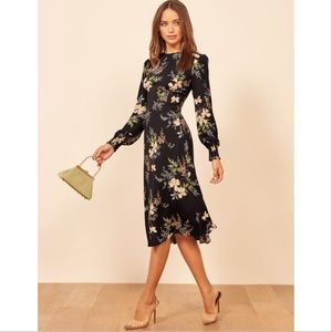 NWT Reformation Kellan Black Floral Midi Dress 10
